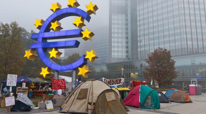 Proteste vor der EZB